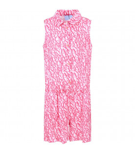 Pink girl summersuit with red all-over logo