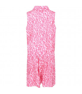 Pink summersuit for girl with red all-over logo