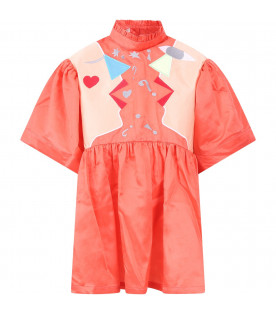RASPBERRY PLUM Pink ''Hannah''girl dress with colorful figures