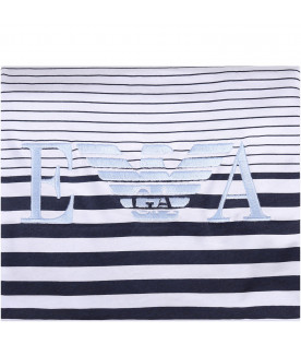 ARMANI JUNIOR White, light blue and blue babyboy blanket with eagle
