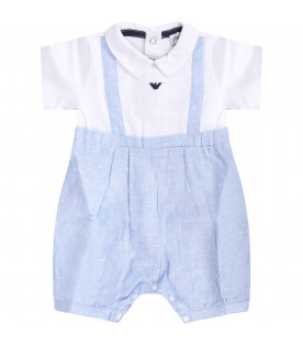 ARMANI JUNIOR White and light blue babyboy babygrow with blue eagle