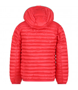 SAVE THE DUCK KIDS Red girl jacket with orange logo
