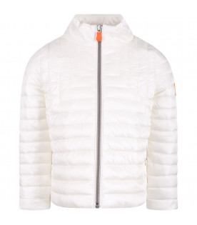SAVE THE DUCK KIDS White girl jacket with orange logo