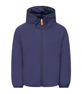 SAVE THE DUCK KIDS Blue navy boy jacket with orange logo