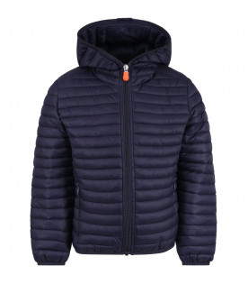 SAVE THE DUCK KIDS Blue boy jacket with orange logo