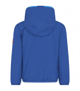 SAVE THE DUCK KIDS Royal blue boy windbreaker with orange logo
