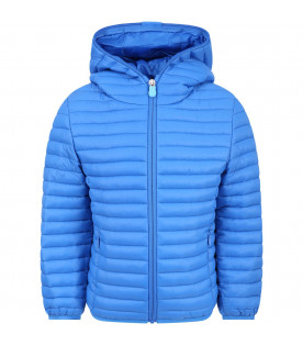 SAVE THE DUCK KIDS Azure boy jacket with light blue logo
