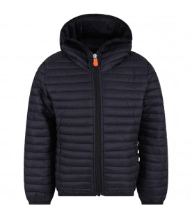 SAVE THE DUCK KIDS Black boy jacket with orange logo