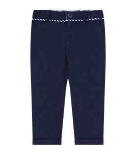 ARMANI JUNIOR Blue babyboy pants with metalic logo