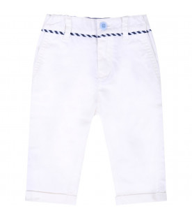 ARMANI JUNIOR White babyboy pants with metalic logo