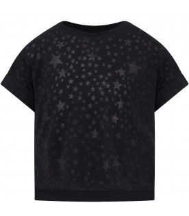 STELLA MCCARTNEY KIDS T-shirt nera per bambina con stelle trasparenti all-over