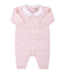 LITTLE BEAR Pink girl babygrow with ruffle