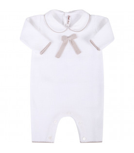 LITTLE BEAR White babygirl babygrow with beige bow
