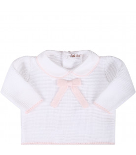 LITTLE BEAR White babygirl suit with pink bow