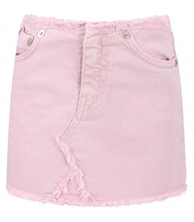 DONDUP KIDS Pink girl skirt with metallic logo