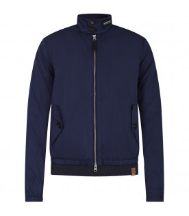 WOOLRICH KIDS Blue boy bomber jacket with white logo