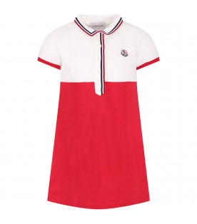 MONCLER KIDS Ivory and red girl dress with iconic logo