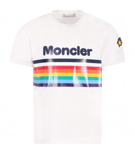 MONCLER KIDS White girl T-shirt with black logo