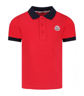 MONCLER KIDS Red boy polo shirt with iconic logo