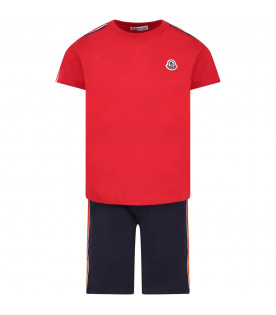 MONCLER KIDS Red and blue boy suit with iconic logo