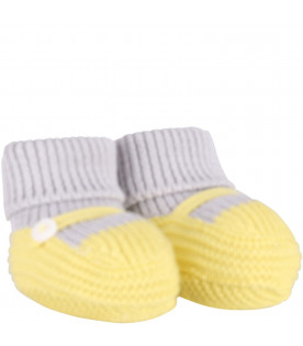 LITTLE BEAR Yellow and grey babykids baby bootee