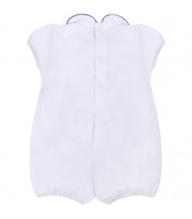 LITTLE BEAR White babyboy rompers with azure belt