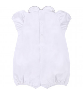 LITTLE BEAR White babygirl rompers with grey bows