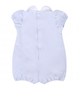 LITTLE BEAR Light blue babyboy rompers with bows