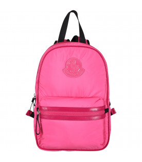 MONCLER KIDS Fucshia girl backpack with iconic logo