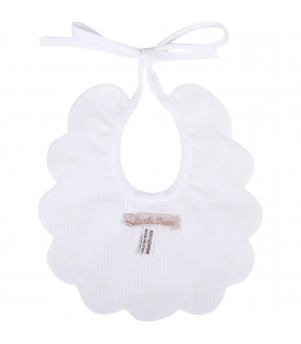 LITTLE BEAR White babykids bib with polka-dots