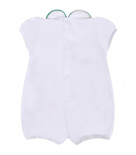 LITTLE BEAR White babykids rompers with green belt