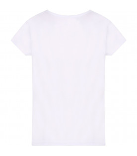 LANVIN PETITE White girl T-shirt with pink logo