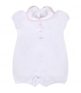 LITTLE BEAR White babygirl rompers with pink roses