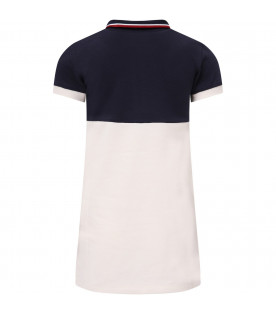 MONCLER KIDS Navy blue and ivory gril dress with logo