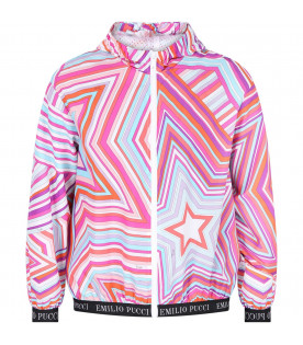 EMILIO PUCCI JUNIOR Colorful girl windbreaker with iconc print