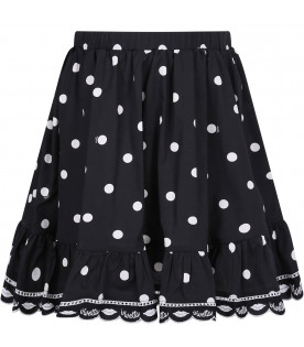 VIVETTA KIDS Black girl skirt with white logo