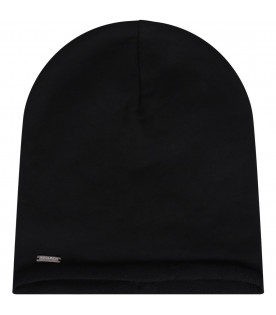 WOOLRICH KIDS Black kids hat with logo
