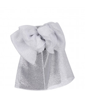 DOUUOD KIDS Silver girl blouse with bows