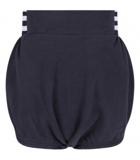 Blue girl culottes with white logo