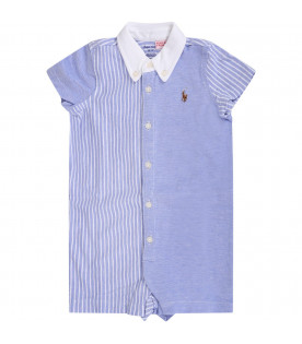 RALPH LAUREN KIDS Light blue and white babyboy rompers with iconic pony logo