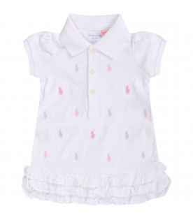 White babygirl dress with colorful iconic ponys logo