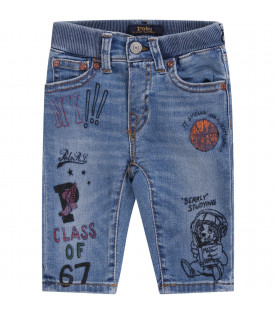 RALPH LAUREN KIDS Light blue babyboy jeans with prints and writing