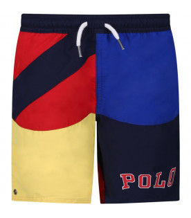 RALPH LAUREN KIDS Color block boy swimsuit with logo