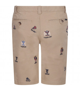 RALPH LAUREN KIDS Beige boy short with colorful iconic logos