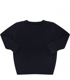 RALPH LAUREN KIDS Blue babyboy sweater with white iconic bear