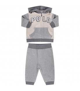 82e1d02d4 RALPH LAUREN KIDS Ivory and grey babyboy jumpsuit with logo ...
