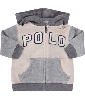 RALPH LAUREN KIDS Ivory and grey babyboy jumpsuit with logo