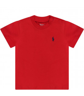 RALPH LAUREN KIDS Red babyboy T-shirt with blue iconic pony logo