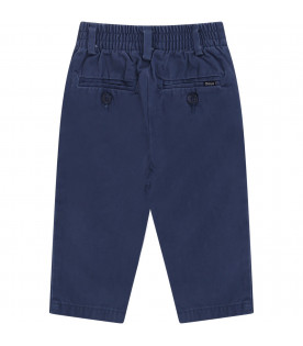RALPH LAUREN KIDS Blue babyboy pants with white logo