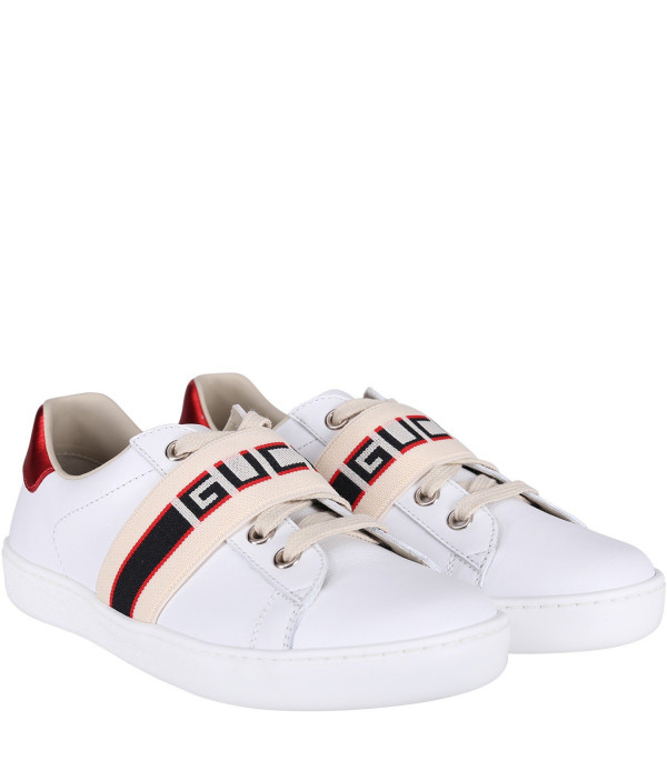 GUCCI KIDS White kids sneakers with blue and red logo